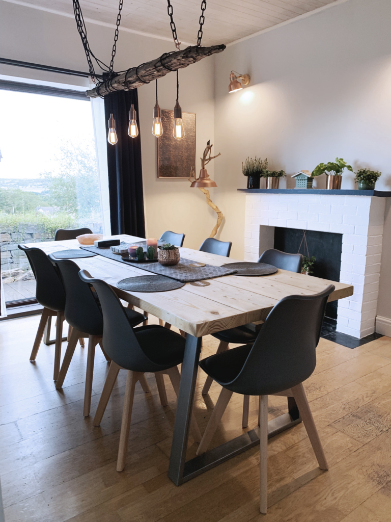 industrial decor, rustic tables and accessories